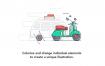 80个时尚潮流扁平化风格的网页app引导界面插画ui设计素材下载