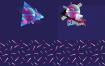 潮流时尚渐变3D立体几何图形包ai格式的源文件下载