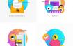 40款扁平化渐变互联网购物科技概念图标PSD源文件和EPS矢量源文件打包下载