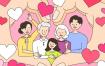 10款卡通幸福甜蜜家庭人物合照合影全家福AI矢量插画设计素材