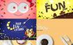 8款创意餐饮甜点面包美食水果咖啡早餐海报PSD模板素材