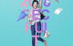 11款时尚动感人物字母创意海报夏日夏季海报模板PSD分层设计素材