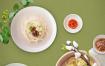 5款韩式餐饮美食食品拉面石锅拌饭点心青菜蔬菜俯拍海报PSD模板素材