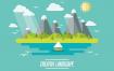 19款夏季插画插图全家旅行旅游度假海边沙滩风景矢量设计素材下载