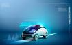 19款人工智能汽车自动驾驶泊车技术全息影像科技概念海报PSD设计素材