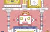 18款人工智能机器人未来科技科学卡通手绘漫画插画场景PSD矢量素材