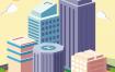 26款创意2.5D等距视角城市地标建筑北京上海清新扁平化矢量素材