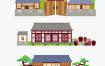 扁平化卡通中国风古代日本建筑风景图案矢量ui设计banner素材背景