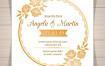 6款鲜花植物欧式花纹婚礼展板背景PSD分层设计素材