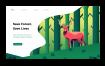 5款柴犬鹿小狗动物插画扁平化banner背景网页UI插图AI矢量设计素材
