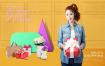 15款彩色渐变电商购物街女性狂欢节开心打折促销PSD模板素材打包下载
