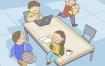 12款卡通中小学开学幼儿园同桌图书馆放学插画PSD模板设计ps素材